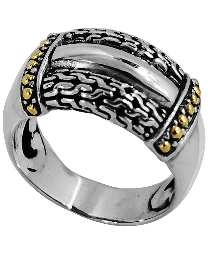 DEVATA - Bali Heritage Signature Ring in Sterling Silver and 18k Yellow Gold Accents