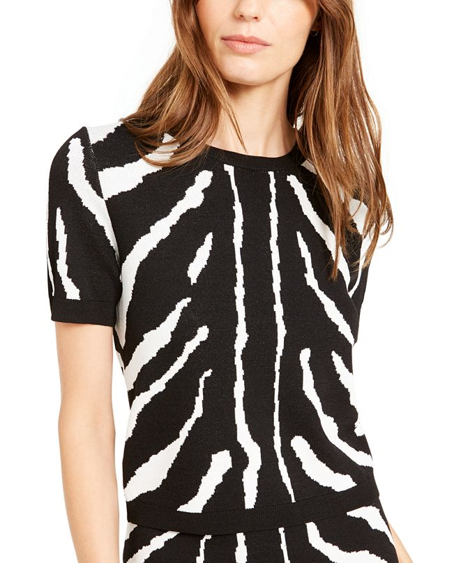 Bar III Zebra-Striped Sweater, Created For Macy's
