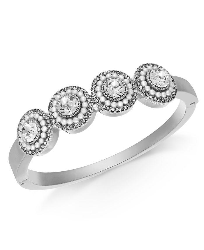 Charter Club - Crystal & Imitation Pearl Cluster Bangle Bracelet