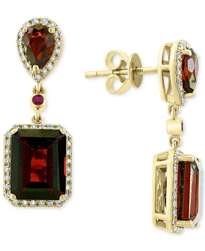 EFFY Collection - Rhodolite Garnet (8-5/8 ct. t.w.), Ruby (5/8 ct. t.w.) & Diamond (1/4 ct. t.w.) Drop Earrings in 14k Gold