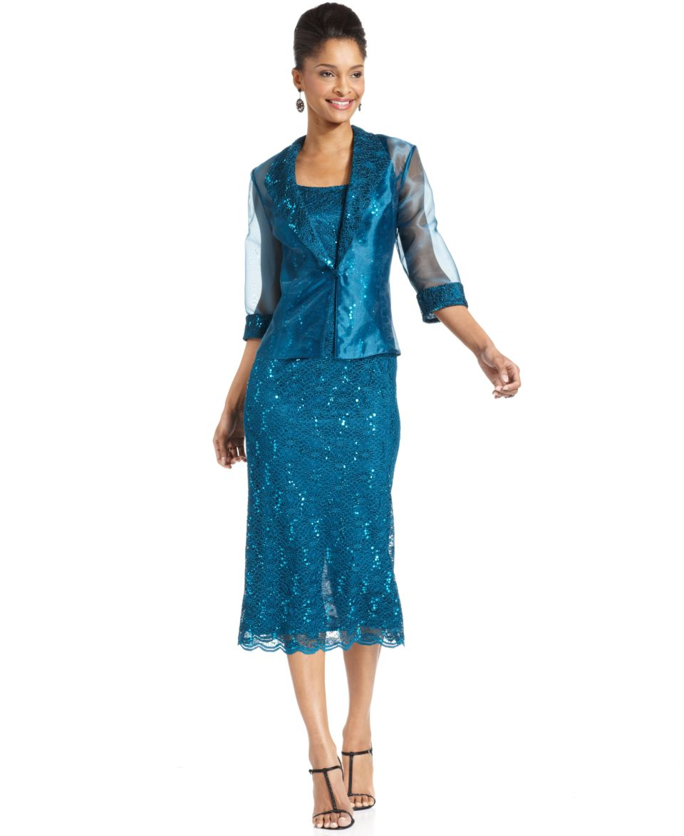 R&M Richards Sleeveless Sequined Lace Dress and Jacket   Dresses   Women