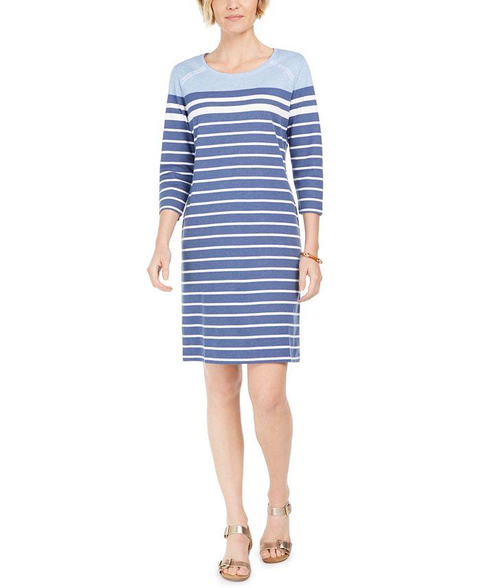 Karen Scott Sport Striped Grommet Shoulder Shift Dress Created For Macy S Reviews Dresses Women Macy S