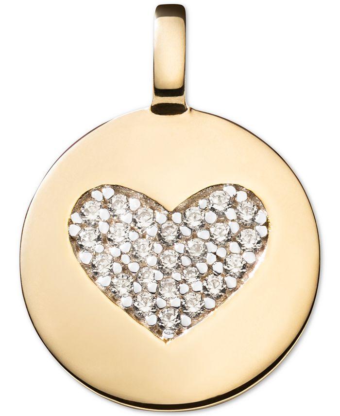 CHARMBAR - Swarovski Zirconia Heart Charm Pendant in 14k Gold-Plated Sterling Silver
