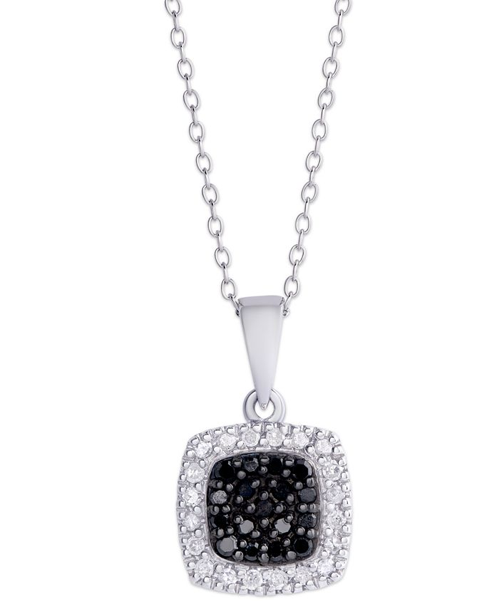 Macy's - Black and White Diamond (1/4 ct. t.w.)  Cushion Square Pendant Necklace in Sterling Silver