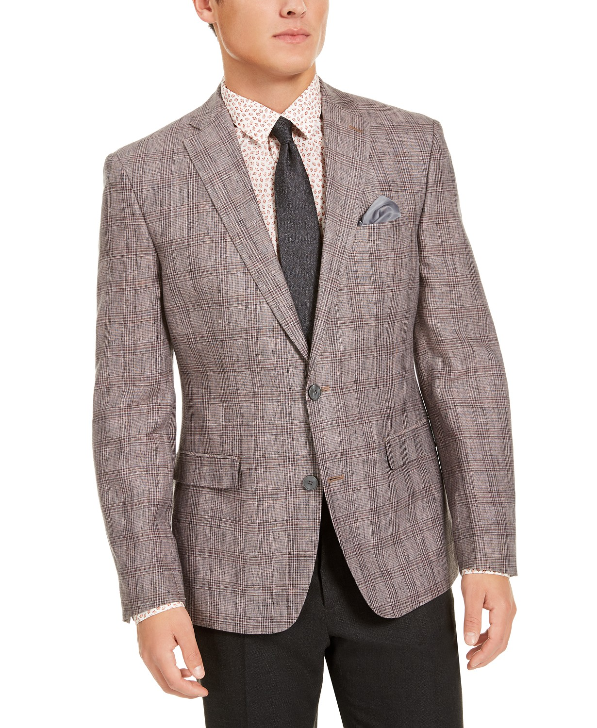 Bar III Mens Slim-Fit Plaid Sport Coat