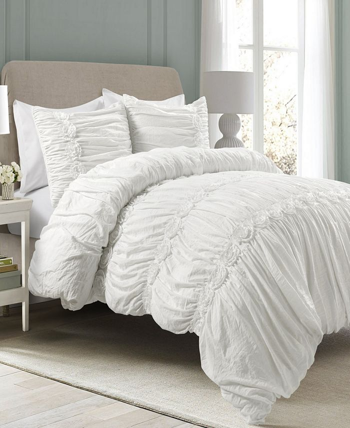 Lush Décor - Darla Ruched 3-Piece King Comforter Set