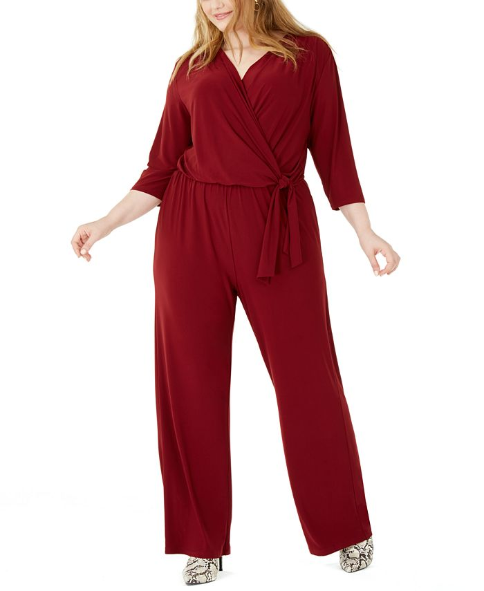 NY Collection - Plus Size Side-Tie Jumpsuit