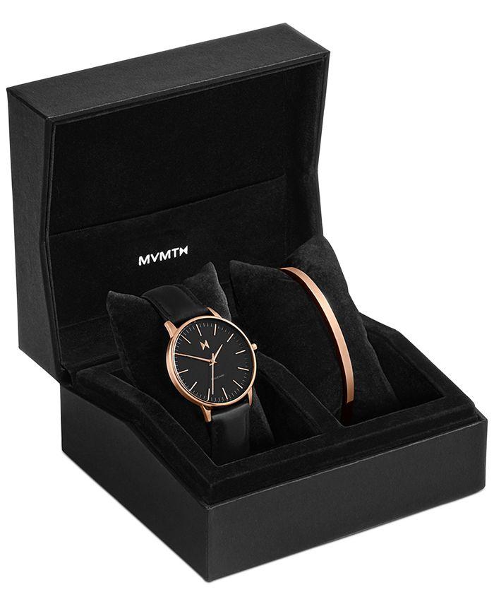 MVMT - Women's Boulevard Santa Monica Black Leather Watch Set 38mm
