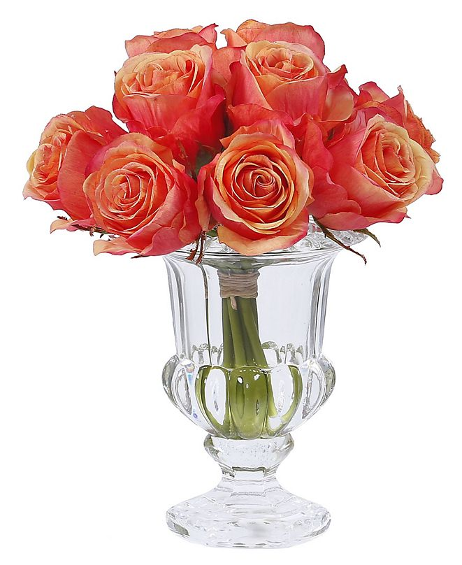 Winward Silks Permanent Botanicals Rose in Crystal Glass