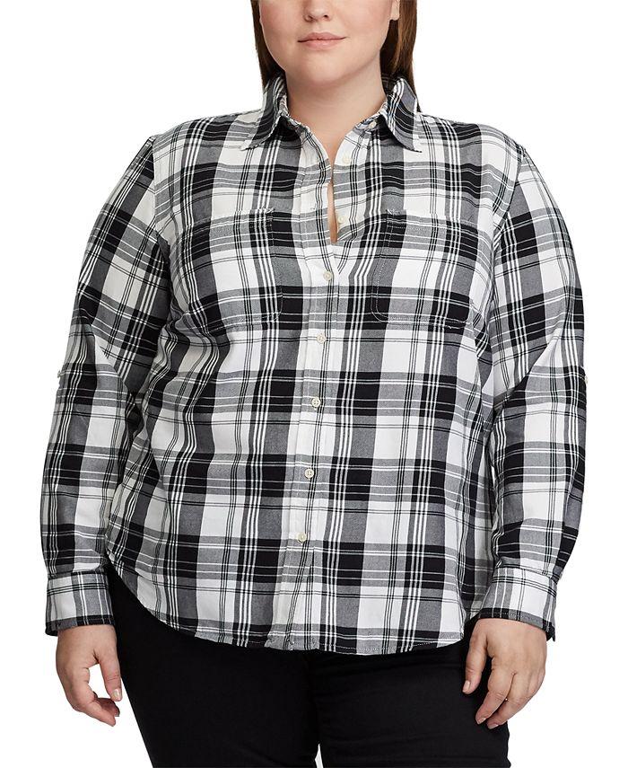 Lauren Ralph Lauren - Plus Size Plaid Roll Tab Button-Down Shirt