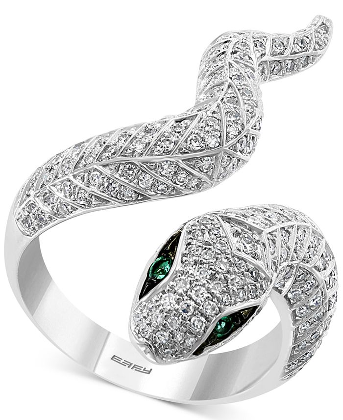 EFFY Collection - Diamond (3/4 ct. t.w.) & Emerald (1/20 ct. t.w.) Snake Ring in 14k White Gold