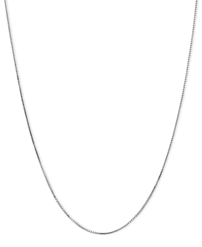 "Macy's - 14k White Gold Necklace, 18"" Plain Box Chain"