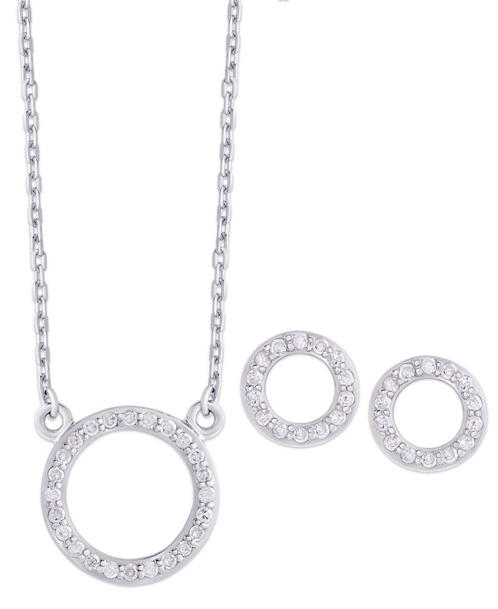 Macy's - Diamond (1/4 ct. t.w.) Circle Pendant Necklace and Stud Earrings set in Sterling Silver