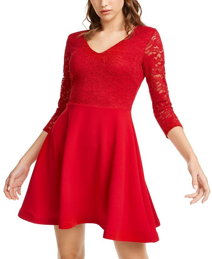 B Darlin - Juniors' Lace & Scuba Fit & Flare Dress