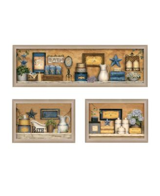 Bathroom Collection III Collection By Carrie Knoff, Printed Wall Art, Ready to hang, Beige Frame, 33