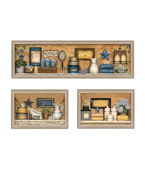 "Trendy Decor 4U Bathroom Collection III Collection By Carrie Knoff, Printed Wall Art, Ready to hang, Beige Frame, 33"" x 11"""