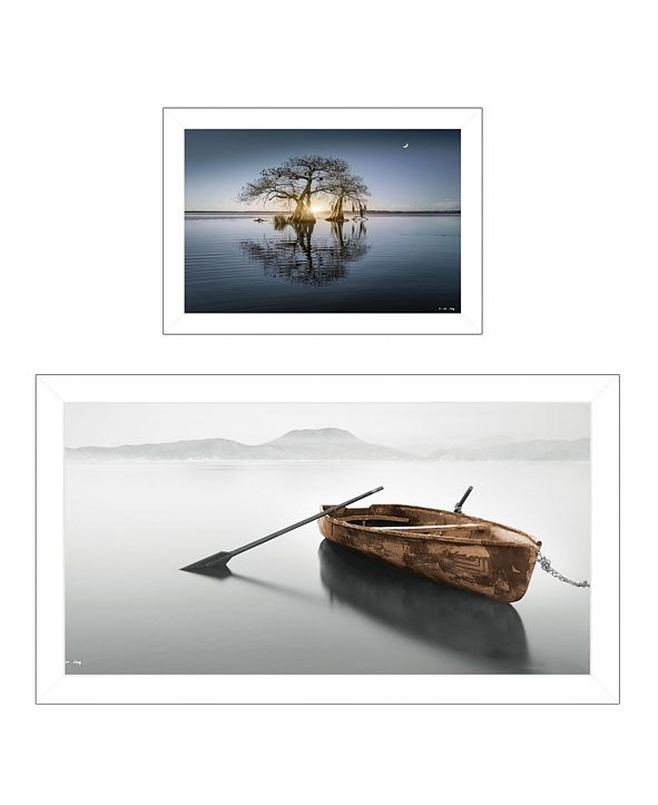 "Trendy Decor 4U Tree Reflections 2-Piece Vignette by Moises Levy, White Frame, 39"" x 21"""