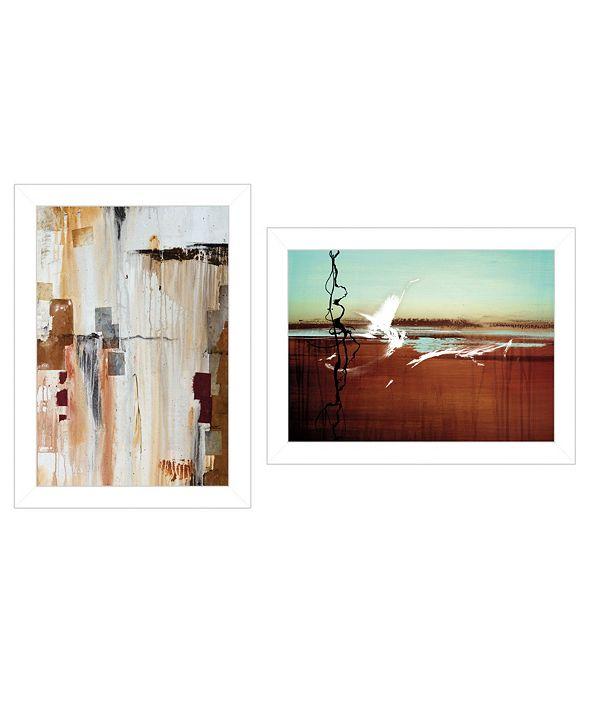 "Trendy Decor 4U Abstract Flight 2-Piece Vignette by Cloverfield Co, White Frame, 19"" x 15"""