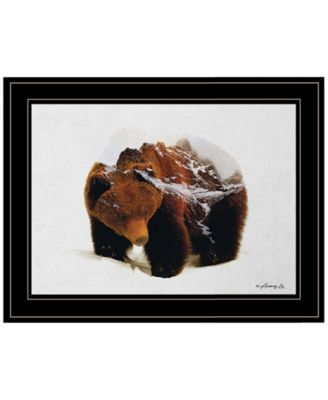 Bear in the Mountains by andreas Lie, Ready to hang Framed Print, Black Frame, 19