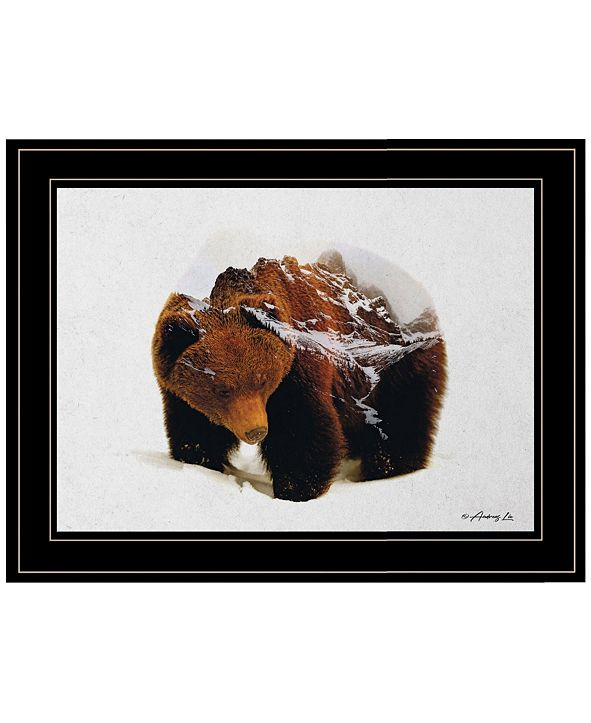 "Trendy Decor 4U Bear in the Mountains by andreas Lie, Ready to hang Framed Print, Black Frame, 19"" x 15"""