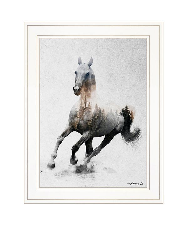 """Trendy Decor 4U Galloping Stallion by andreas Lie, Ready to hang Framed Print, White Frame, 19"""" x 15"""""""