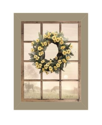 Country Gazing by Lori Deiter, Ready to hang Framed Print, Taupe Window-Style Frame, 14
