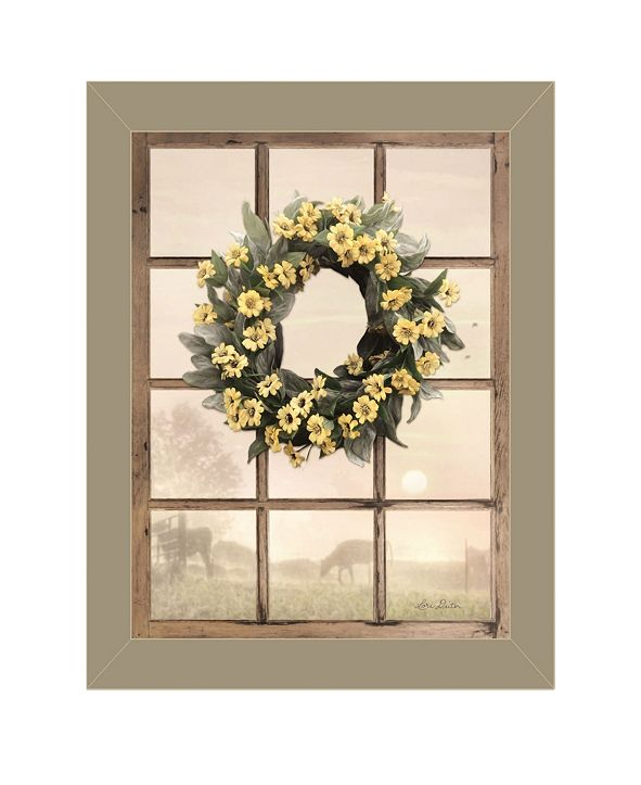 """Trendy Decor 4U Country Gazing by Lori Deiter, Ready to hang Framed Print, Taupe Window-Style Frame, 14"""" x 18"""""""