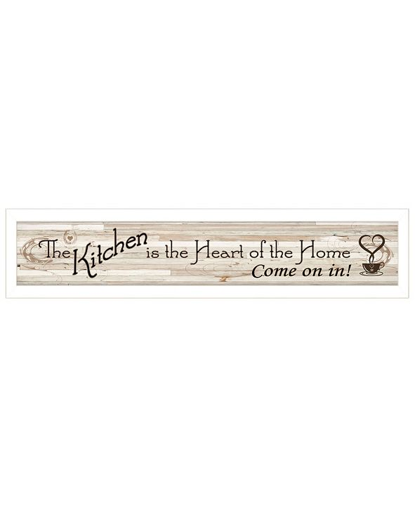 """Trendy Decor 4U Kitchen Is The Heart of The Home by Millwork Engineering, Ready to hang Framed Print, White Frame, 32"""" x 7"""""""