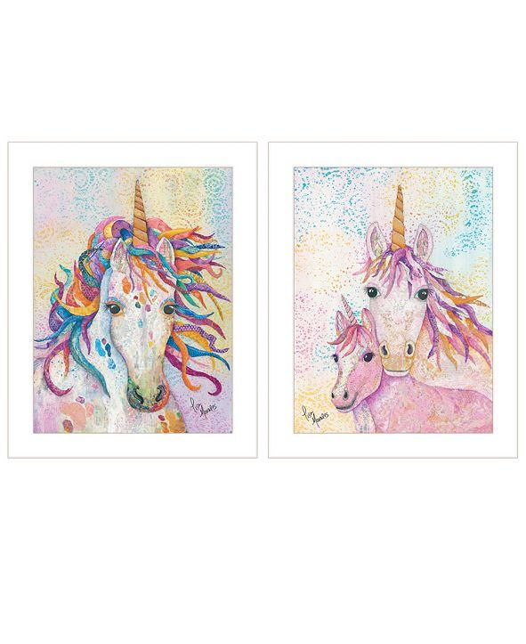 "Trendy Decor 4U Unicorns 2-Piece Vignette by Lisa Morales, White Frame, 15"" x 19"""