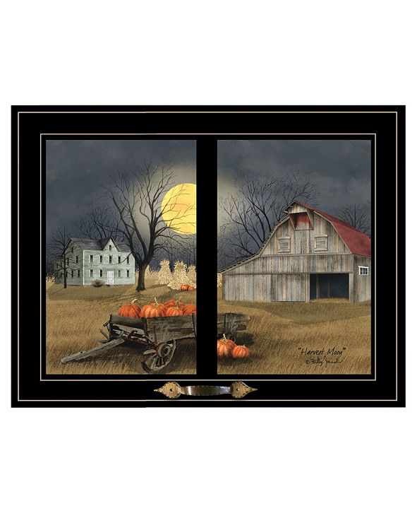 "Trendy Decor 4U Harvest Moon by Billy Jacobs, Ready to hang Framed Print, Black Window-Style Frame, 19"" x 15"""