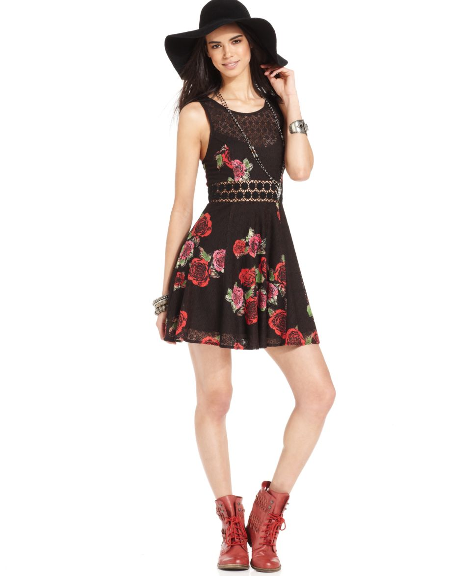 Free People Dress, Sleeveless Scoop Neck Floral Print Lace   Dresses   Women