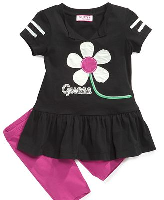 GUESS Kids Set, Little Girls 2-Piece Ruffle Top and Leggings