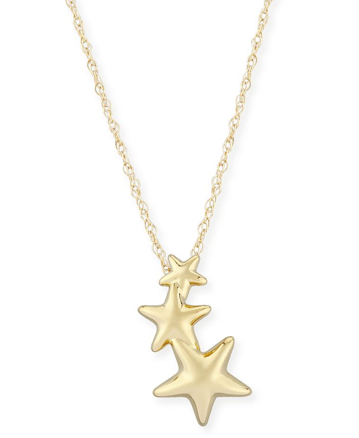 Macy's - Triple Star Crawler Necklace Set in 14k Gold