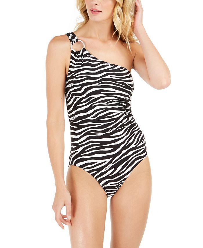 Michael Kors - Zebra-Print One-Shoulder One-Piece Swimsuit