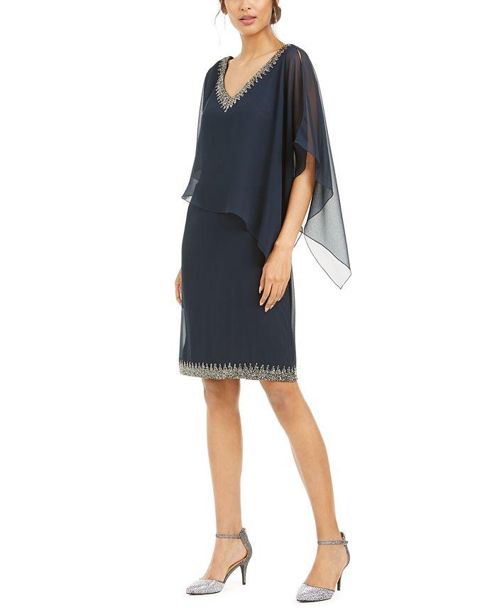 J Kara - Embellished Overlay Sheath Dress