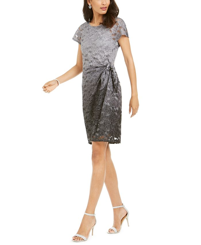 Robbie Bee - Petite Sparkle Lace Overlay Dress