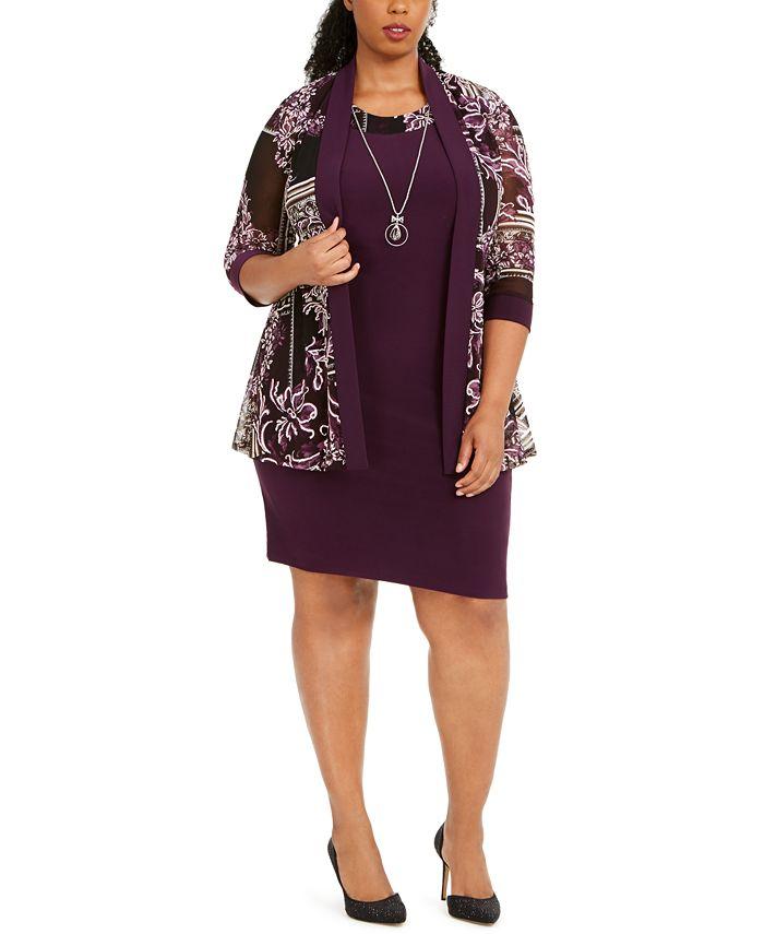 R & M Richards - Plus Size Puff-Print Jacket, Dress & Necklace