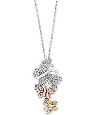 EFFY Collection EFFY® Diamond Butterfly Pendant Necklace (3/8 ct. t.w.) in 14k Gold, White Gold ...