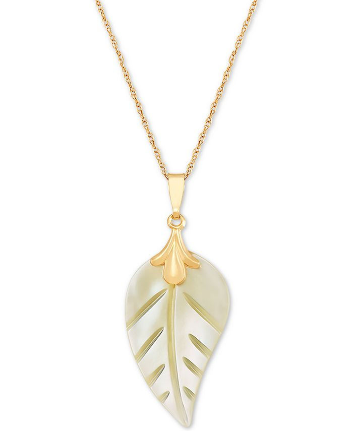 """Macy's - Mother-of-Pearl Leaf 18"""" Pendant Necklace in 10k Gold"""