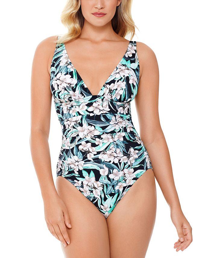 Swim Solutions - Vintage Bouquet Printed Plunge One-Piece Swimsuit