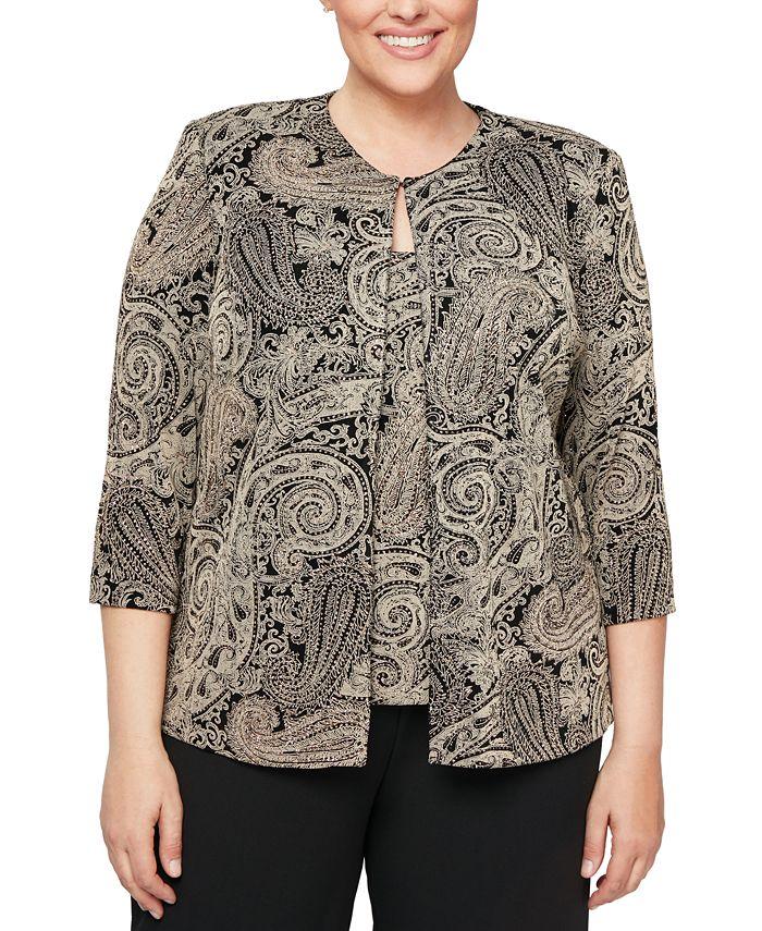Alex Evenings - Plus Size Glitter-Print Jacket & Top