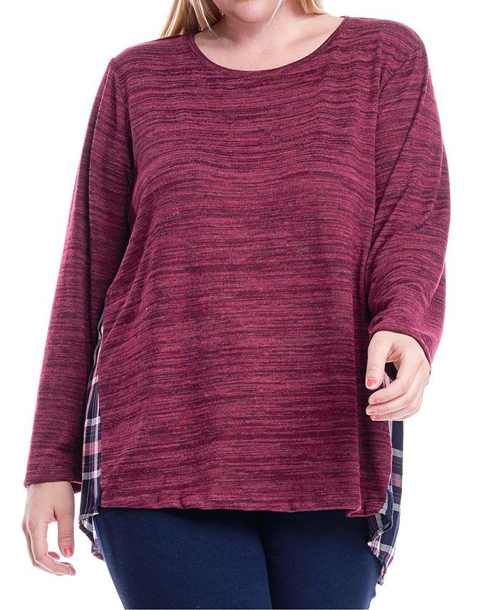 Fever - Plus Size Knit & Plaid Top