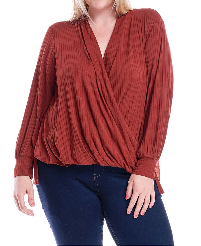 Fever - Plus Size Surplice Wrap-Front Top