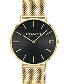 COACH Men's Charles Gold-Tone Mesh Bracelet Watch 36mm