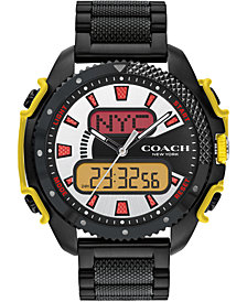 COACH Men's Analog-Digital C001 Black Stainless Steel Bracelet Watch 46mm, A Limited Edition