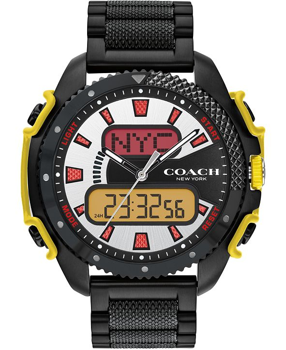 COACH Men's Analog-Digital C001 Black Stainless Steel Bracelet Watch 46mm, A Limited Edition
