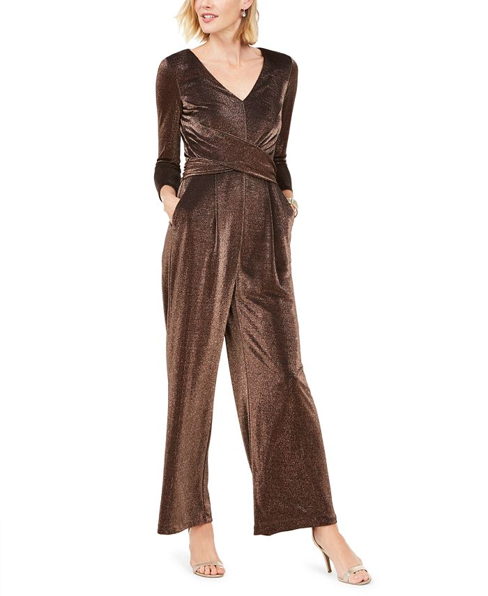 Jessica Howard - Ruched Glitter Jumpsuit