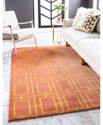 Glam Mmg002 Coral/Gold 2' x 10' Area Rug