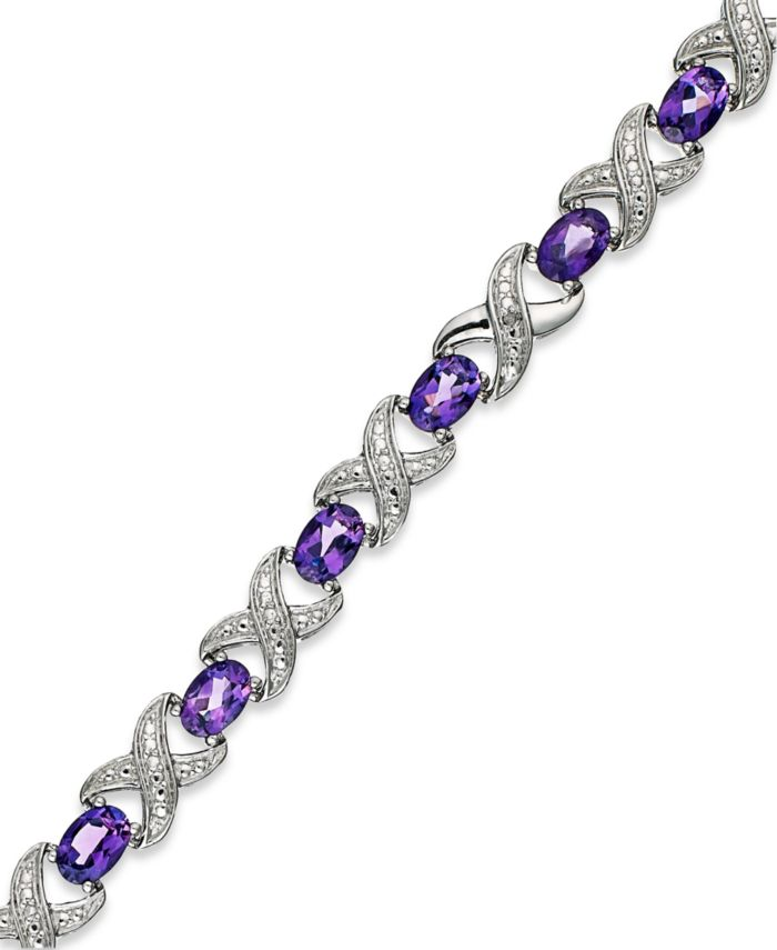 Macy's Amethyst (6-1/2 ct. t.w.) and Diamond Accent XO Bracelet in Sterling Silver & Reviews - Bracelets - Jewelry & Watches - Macy's