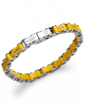 IceLink - Stainless Steel Bracelet, Small Yellow Bicycle Bracelet